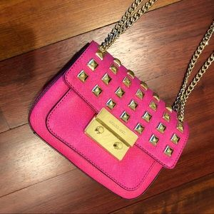 Hot Pink Michael Kors Bag with Gold Studs